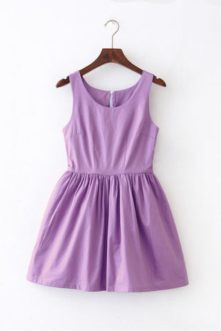 Lavender Solid Color Cute Retro Sundress