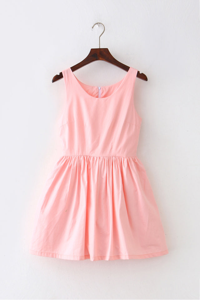 Pink Goose Solid Color Cute Retro Sundress
