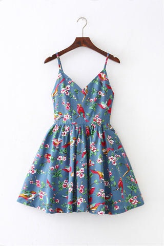 Floral Bird Strap Cute Retro Sundress