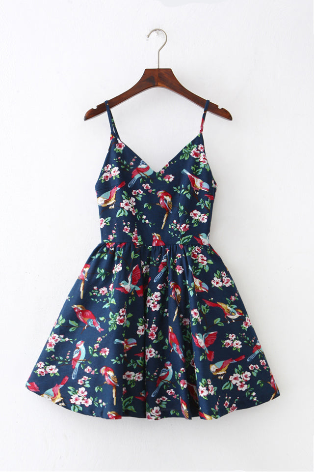 Navy Floral Bird Strap Cute Retro Sundress