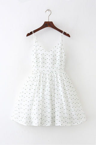 Embroidery Flower Strap Cute Retro Sundress