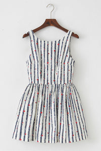 【Almost Gone】Stripe Red Star Cute Retro Sundress