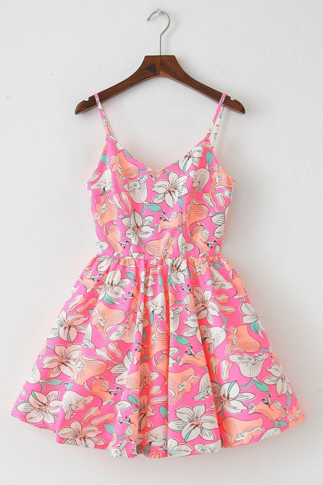 Lily Sketch Strap Cute Retro Sundress