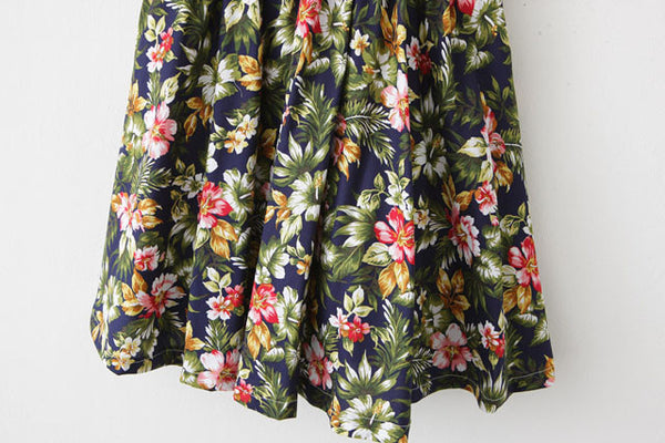 Tropical Flower Strap Cute Retro Sundress