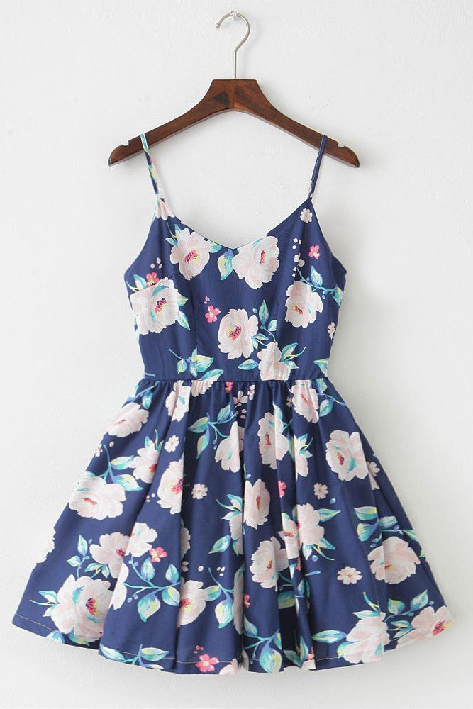 French Rose Strap Cute Retro Sundress