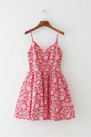 Folk Flower Strap Cute Retro Sundress