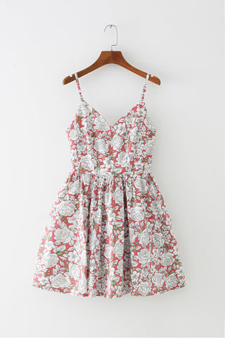 Hand Painted Peony Strap Cute Retro Sundress