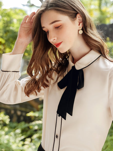 Peter Pan Collar Bow Neck Nude Shirt