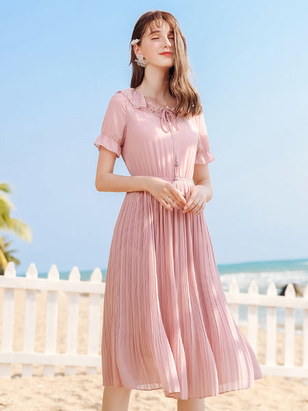 Lace Dolly Collar Pink Pleat Dress