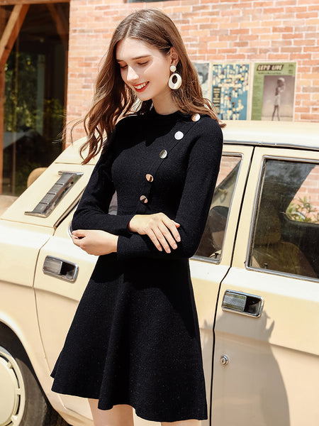Button Front Black Knit Dress
