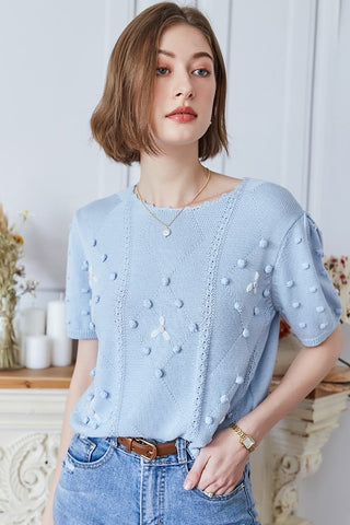Cotton Embroidery Knit Top