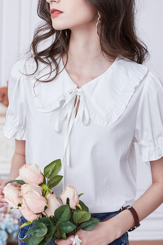 Dolly Ruffle Tie Blouse
