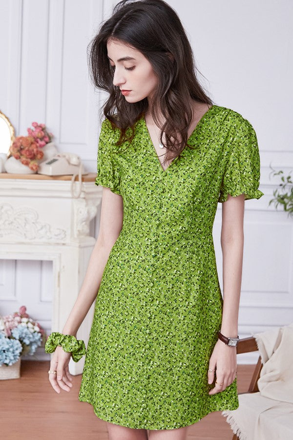 V-Neck Green Floral Dress
