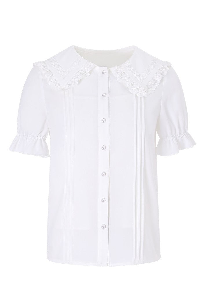 Dolly Lace Collar Short Sleeve Shirt