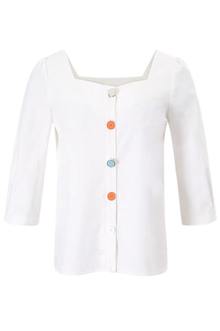 Square Neckline Color Button Top