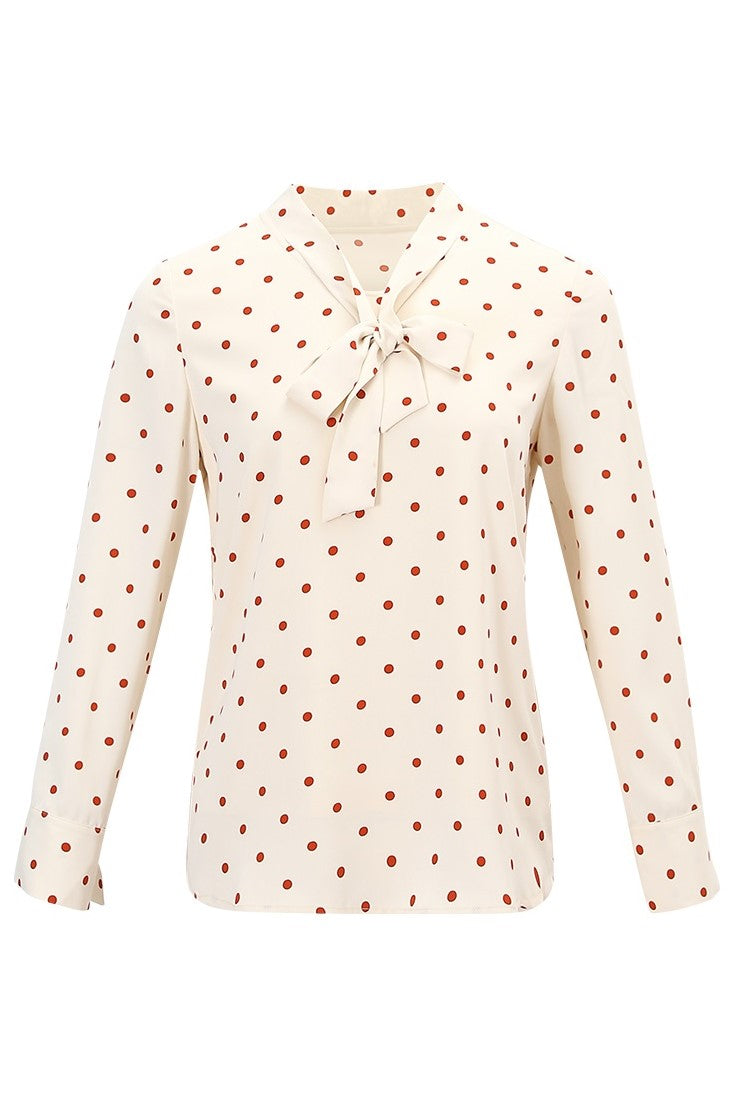Orange Polka Dots Bow Neck Shirt