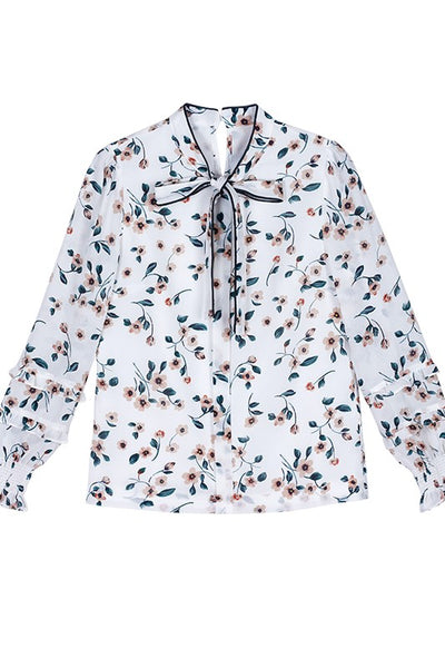 Bow Tie Neck Floral Blouse