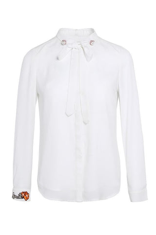 Bow Tie-Neck Embroidery Shirt