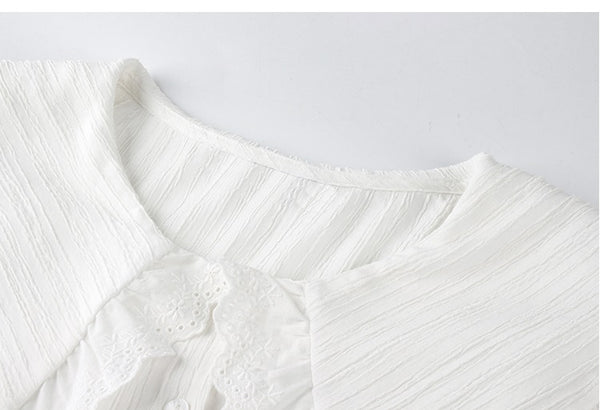 Ruffle Lapel White Shirt