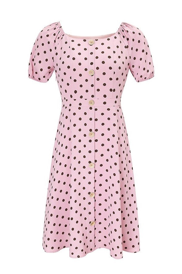 Puff Sleeve Polka Dots Shirt Dress