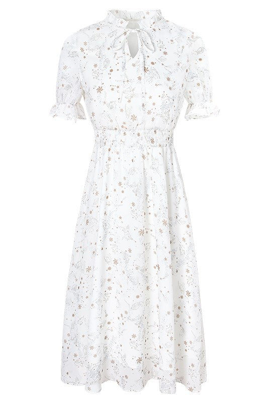 Ruffle Tie Neck Constellation Chiffon Dress