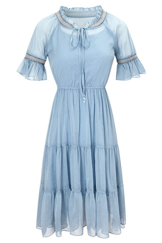 Tie Neck Ruffle Chiffon Dress