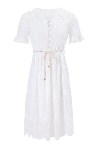 Scalloped Embroidery Little White Dress