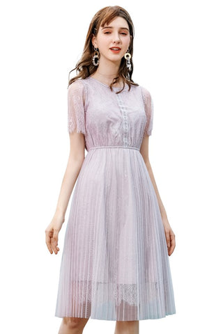 Lilac Lace Pleat High Waist Dress
