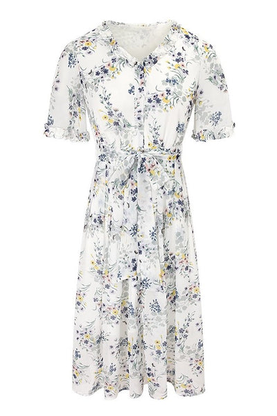 Belted Floral Chiffon Shirt Dress