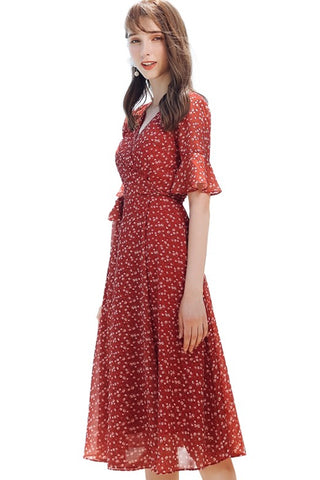 Rose Print Red Wrap Dress