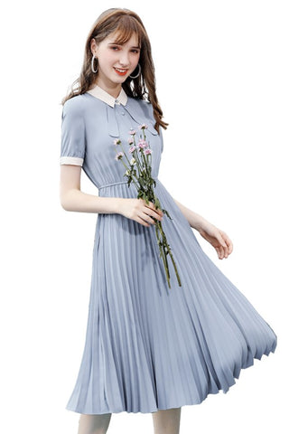 Bow Neck Pleat High Waist Dress