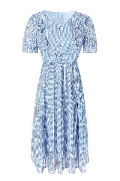 Stripe Dots Ruffle Pleat Dress
