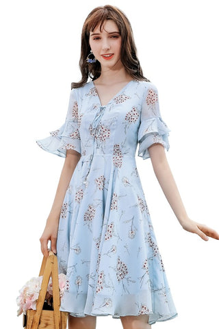 Tie Front Bell Sleeve Blue Floral Dress