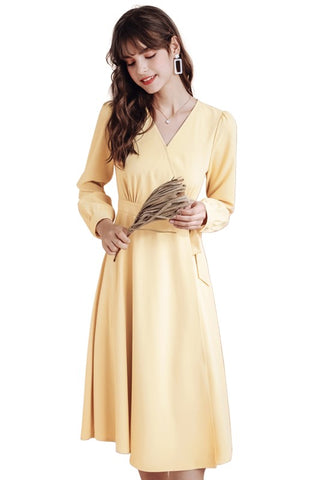 Retro Yellow High Waist Wrap Dress