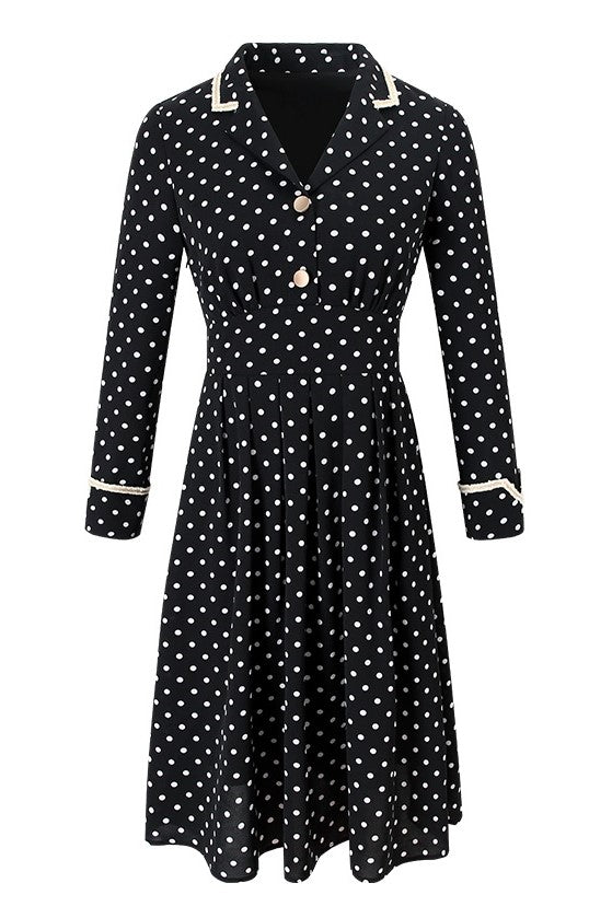 Retro High Waistband Polka Dots Dress