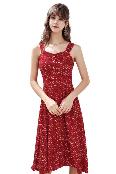Heart Print Chiffon Tank Dress