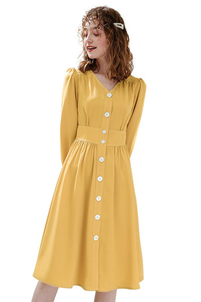 Retro High Waist Yellow Shirt Dress