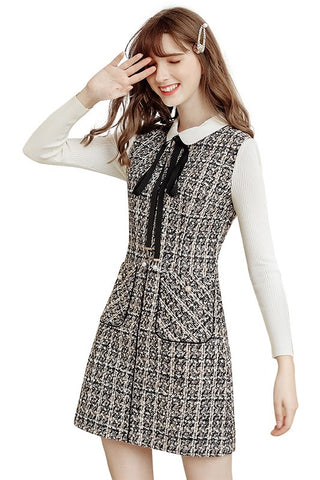 Peter Pan Collar Bow Tie Tweed Dress