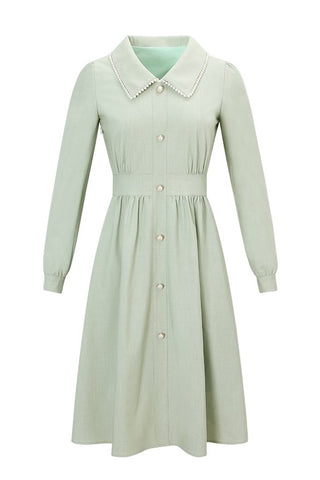 Fleece Lining Pearl Collar Avocado High Waist Dress