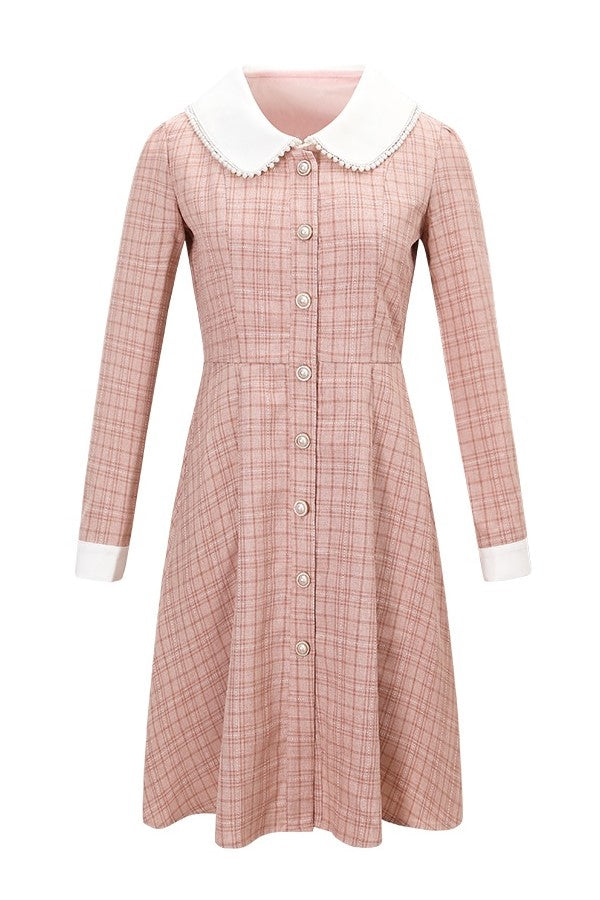Fleece Lining Pearl Dolly Collar Check Dress