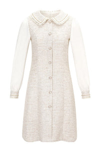 Fleece Lining Elegant Tweed Dress