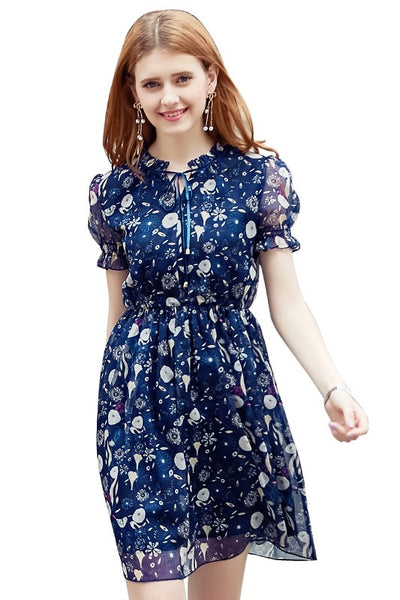 Tie Neck Bird Floral Navy Chiffon Dress