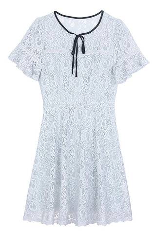 Tie Neck Grey Full Lace Dress