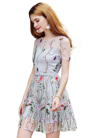Tulle Embroidery See-Through Dress