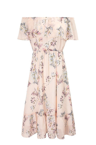 Off-Shoulder Ruffle Floral Dress