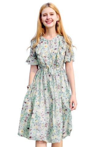 Tassel Tie-Neck Ruffle Floral Dress