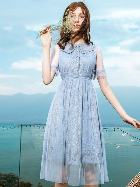 Tulle Dolly Collar Lace Dress