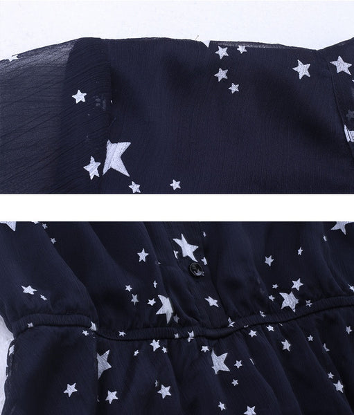 Milky Way Bow Neck High Waist Dress