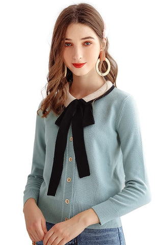 Contrast Color Bow Tie Cardigan