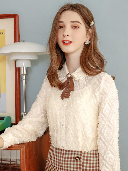 Pearl Dolly Collar Fluffy Chiffon Shirt